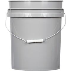 5 Gallon Gray Plastic Pail (90 mil), w/ Metal Handle