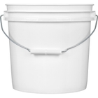 2 Gallon White Plastic Pail with Metal Handle