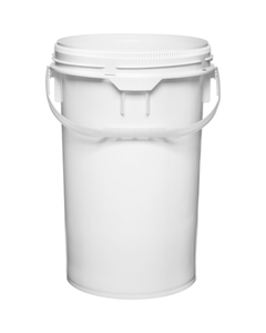 6.5 Gallon White Plastic Pail w/Plastic Handle, Threaded Opening, UN Rated
