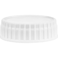 63mm 63-485 White Ribbed (Smooth Top) Vented Plastic Cap w/Foam Liner (3-Ply)