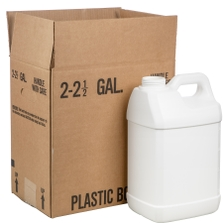 2.5 Gallon White HDPE Plastic F-Style Bottle, 63mm 63-445, 340 Grams, 2x1 Reshipper Box