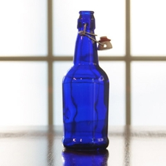 500 ml (16 oz.) Cobalt Blue Swing Top Beer Bottles, EZ Cap, 12/cs