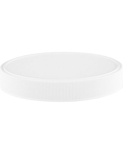 100mm 100-400 White Ribbed (Matte Top) Plastic Cap w/HIS TE Liner for HDPE (Printed)