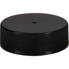 33mm 33-400 Black Ribbed (Smooth Top) Plastic Cap w/HIS Liner for HDPE (Printed)