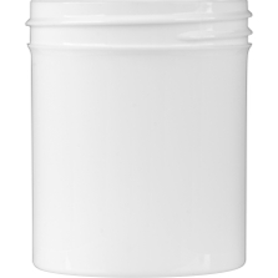 4 oz. White Plastic Jar, Straight Sided, 58mm 58-400