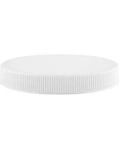 100mm 100-400 White Ribbed (Matte Top) Plastic Cap w/Foam Liner