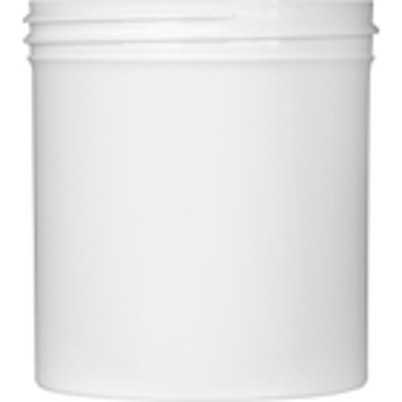 16 oz. White Plastic Jar, Straight Sided, 89mm 89-400
