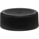 28mm 28-400 Black Ribbed (Matte Top) Plastic Cap w/HIS for HDPE