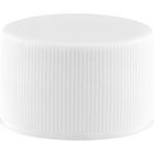 28mm 28-410 White Ribbed (Matte Top) Plastic Cap w/HIS Pulp Liner for PET/PVC