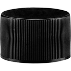 28mm 28-410 Black Ribbed (Matte Top) Plastic Cap w/HIS for HDPE