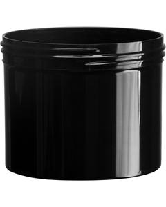 32 oz. Black PP Plastic Jar, Straight Sided, 120mm 120-400