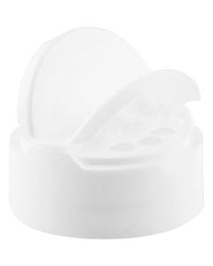 43mm 43-485 White Dual Flapper Cap, 3 Holes, Unlined