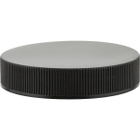 45mm 45-400 Black Ribbed (Smooth Top) Plastic Cap w/PS22 Liner