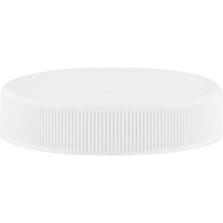 53mm 53-400 White Ribbed (Matte Top) Plastic Cap w/Foam Liner (3-ply)