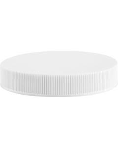 63mm 63-400 White Ribbed (Smooth Top) Plastic Cap w/PS22 Liner (Printed)