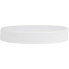 89mm 89-400 White Ribbed Plastic Cap w/HIS for HDPE