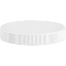 89mm 89-400 White Ribbed (Matte Top) Plastic Cap w/HIS for PET/PVC