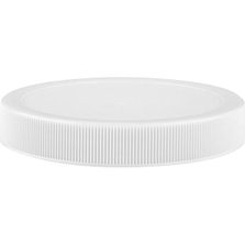 89mm 89-400 White Ribbed (Matte Top) Plastic Cap w/Pressure Sensitive Liner