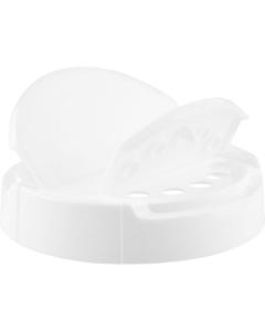 89mm 89-400 White Dual Flapper Cap, 5 Holes, Unlined
