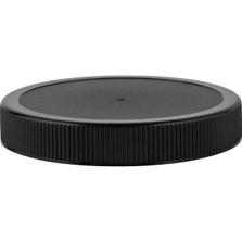 89mm 89-400 Black Ribbed (Matte Top) Plastic Cap w/Foam Liner (3-ply)