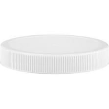 89mm 89-400 White Ribbed (Matte Top) Plastic Cap w/Foam Liner (3-ply)