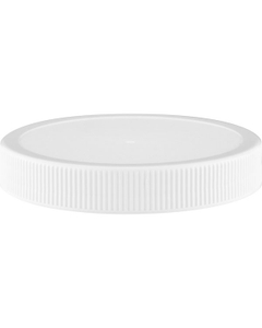 89mm 89-400 White Ribbed (Matte Top) Plastic Cap, Unlined