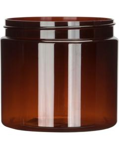 16 oz. Amber PET Plastic Jar, Straight Sided, 89mm 89-400