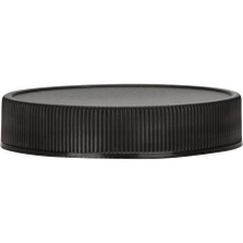 89 mm 89-400 Black Ribbed Sided Plastic Cap with Heat Induction Liner for PET