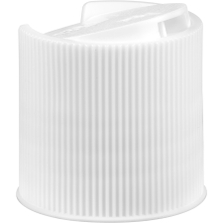 """28mm 28-410 White Ribbed Disc Top Cap, Unlined, .343""""x.118"""" Orifice, Valve Seal"""