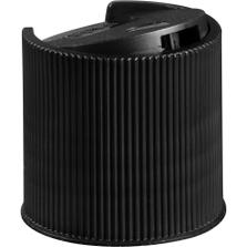 "28mm 28-410 Black Ribbed Disc Top Cap, Unlined, .343""x.118"" Orifice, Valve Seal"