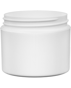 2 oz. White PP Plastic Jar, Double Wall, Straight Sided, 58mm 58-400