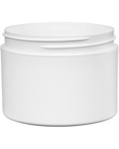 8 oz. White PP Plastic Jar, Double Wall, Straight Sided, 89mm 89-400