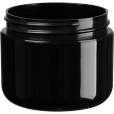 2 oz. Black PP Plastic Wide Mouth Jar, Double Wall, 58mm 58-400, 21 Grams