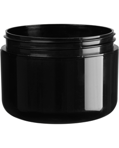 8 oz. Black PP Plastic Wide Mouth Jar, Double Wall, 89mm 89-400, 48 Grams