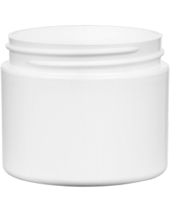 2 oz. White PP Plastic Jar, Double Wall, Straight Sided, 58mm 58-400, 21 Grams