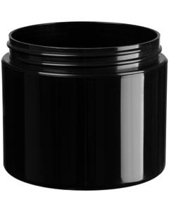 4 oz. Black PP Plastic Jar, Double Wall, Straight Sided, 70mm 70-400, 34 Grams