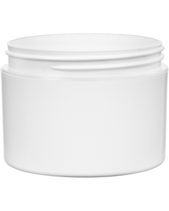 8 oz. White PP Plastic Jar, Double Wall, Straight Sided, 89mm 89-400, 48 Grams