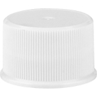 24mm 24-410 White Ribbed (Matte Top) Plastic Cap w/HIS for HDPE
