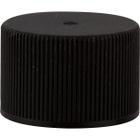 24mm 24-410 Black Ribber (Matte Top) Plastic Cap w/HIS for PET/PVC