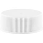 28mm 28-400 White Ribbed (Matte Top) Plastic Cap w/HIS for HDPE