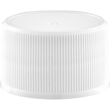 28mm 28-410 White Ribbed (Matte Top) Plastic Cap w/HIS for HDPE