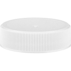 38mm 38-400 White Ribbed (Matte Top) Plastic Cap w/HIS for HDPE