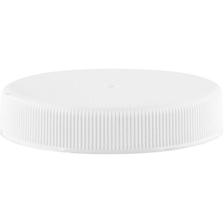 53mm 53-400 White Ribbed (Matte Top) Plastic Cap w/HIS for HDPE