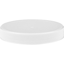 70mm 70-400 White Ribbed (Matte Top) Plastic Cap w/HIS for HDPE