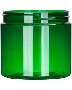 16 oz. Green PET Plastic Jar, Straight Sided, 89mm 89-400