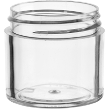 1 oz. Clear PS Plastic Jar, Thick Wall, Straight Sided, 43mm 43-400
