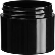 2 oz. Black PP Plastic Jar, Thick Wall, Straight Sided, 53mm 53-400