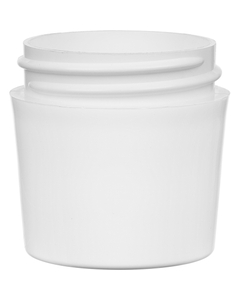 1 oz. White PP Plastic Jar, Thick Wall, Tapered Side, 43mm 43-400