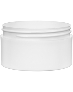 6 oz. White PP Plastic Jar, Thick Wall, Straight Sided, 89mm 89-400