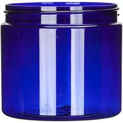 16 oz. Blue PET Plastic Jar, Straight Sided, 89mm 89-400